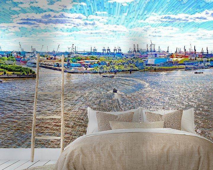 Beispiel fototapete: Elbe und Hafen in  Hamburg von Leopold Brix
