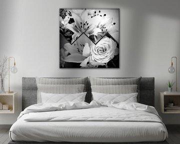 Collage White Flowers von Nicky`s Prints