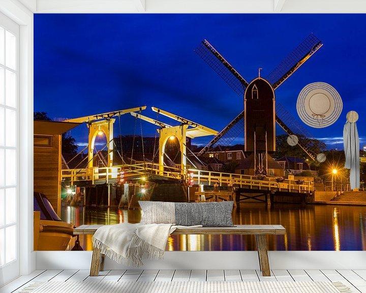 Sfeerimpressie behang: Rembrandtbrug, Leiden van Diederik van Duijn