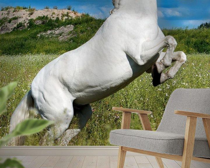Sfeerimpressie behang: Andalusisch paard (PRE) steigerend van Cristel Brouwer