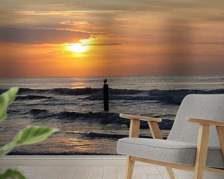 Sfeerimpressie behang: Zonsondergang aan zee van Tesstbeeld Fotografie