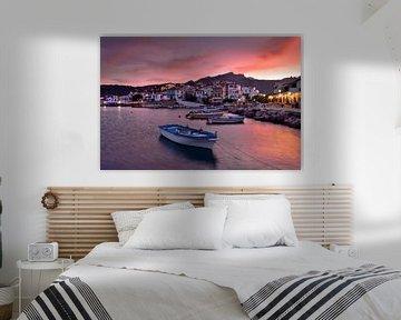 Kokkari Samos Griekenland bij zonsondergang van John Leeninga