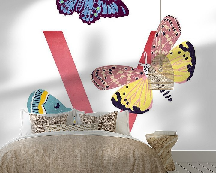 Sfeerimpressie behang: V - Vlinder van Goed Blauw