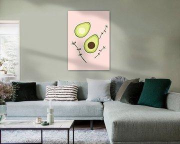 Avocado op een roze achtergrond van Eline Willekens