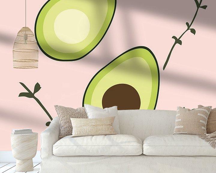 Beispiel fototapete: Avocado auf rosa Hintergrund von Eline Willekens