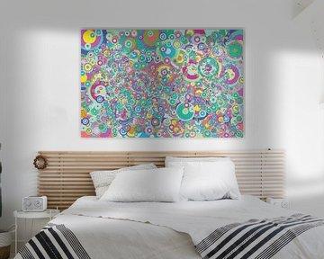 Abstrakte Arbeit mit Kreisen 'Frühling'. von Ton Kuijpers