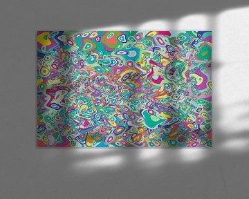 Abstract werk met vloeibare cirkels 'Lente' van Ton Kuijpers