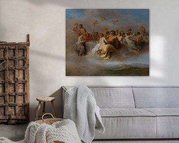Malerei, Begegnung der Götter auf den Wolken von Atelier Liesjes
