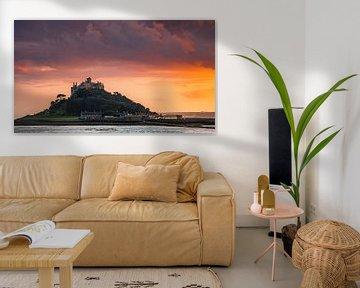 Zonsondergang St Michael's Mount, Cornwall, Engeland van Henk Meijer Photography