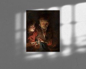 Gemälde, Alte Frau und Junge mit Kerzen von Atelier Liesjes