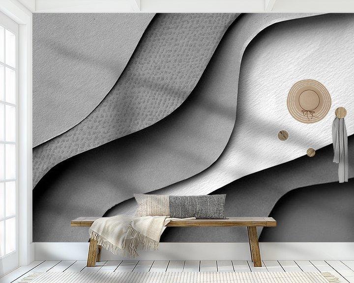 Sfeerimpressie behang: Grijze abstractie golven van Dreamy Faces