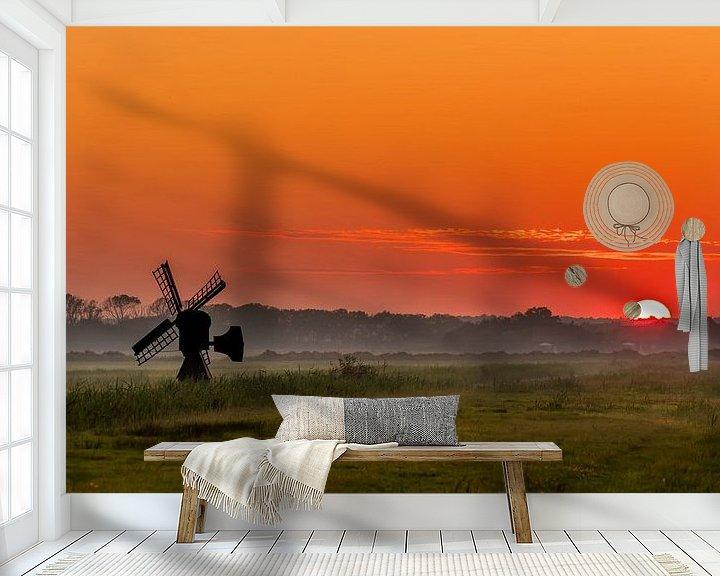 Sfeerimpressie behang: Texel zonsondergang De Staart van Texel360Fotografie Richard Heerschap