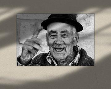 Alter Mann in Barcos von Monique Tekstra-van Lochem