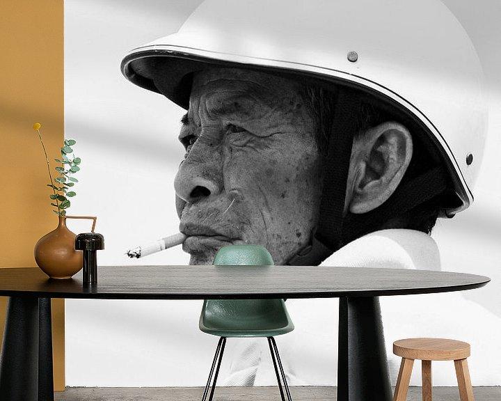 Beispiel fototapete: Mann mit Zigarette von Monique Tekstra-van Lochem