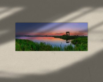 Panorama-Sonnenuntergang bei Kolham, Groningen, Niederlande