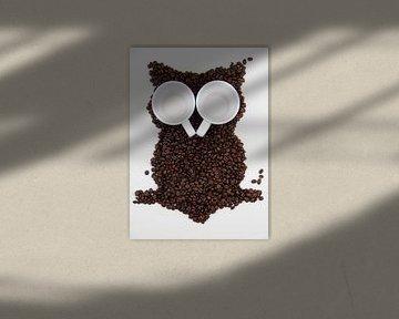 Uil in de koffiebonen van Tesstbeeld Fotografie