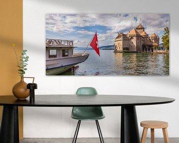 Kasteel Chillon aan het meer van Genève in Zwitserland van Werner Dieterich