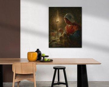 Frau näht bei Lampenlicht, Jean-François Hirse