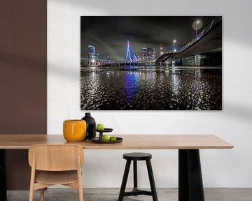 Rotterdam - Erasmusbrug - Lijnen - Reflectie van Fotografie Ploeg