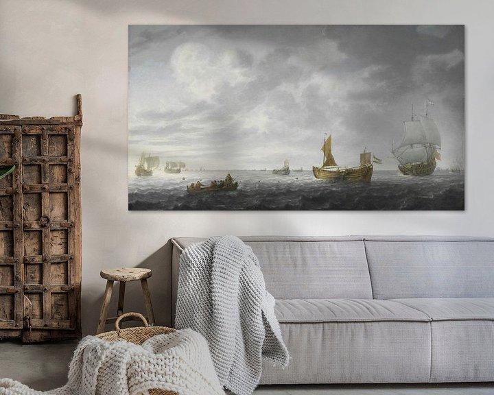 Sfeerimpressie: Nederlandse Vissersbootjes die hun netten afschieten, Simon de Vlieger
