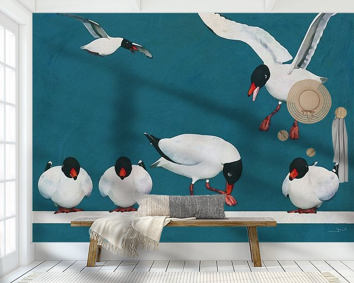 Sfeerimpressie behang: Zwarte meeuwen op een rijtje van Jan Keteleer