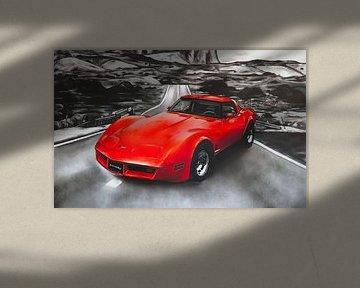 Chevrolet Corvette schilderij (rood) van Jos Hoppenbrouwers