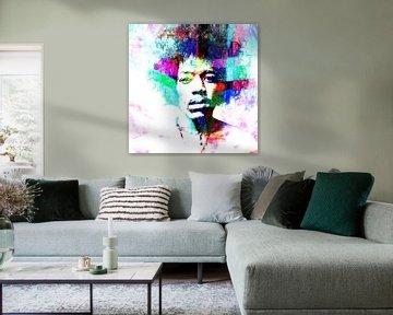 Jimi Hendrix Abstract Portret van Art By Dominic