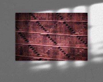 Detail van trapput Chand Baori , India van Karel Ham