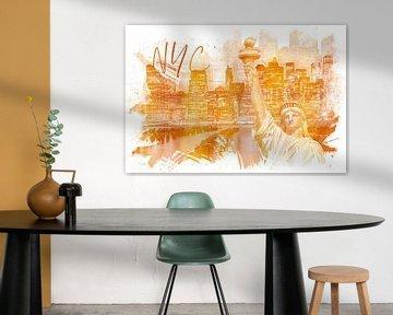 Graphic Art MANHATTAN Collage   gold von Melanie Viola