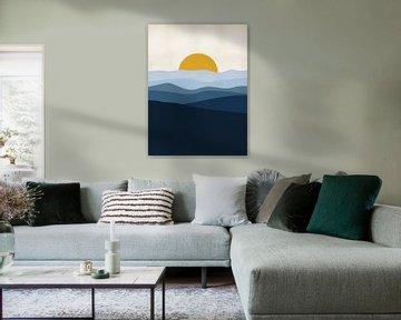 Blauw Landschap met zon