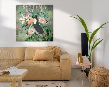 Vintage Tukan und tropische Blumen von Andrea Haase
