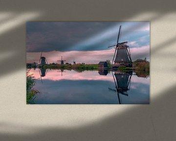 Windmolens Kinderdijk bij zonsondergang