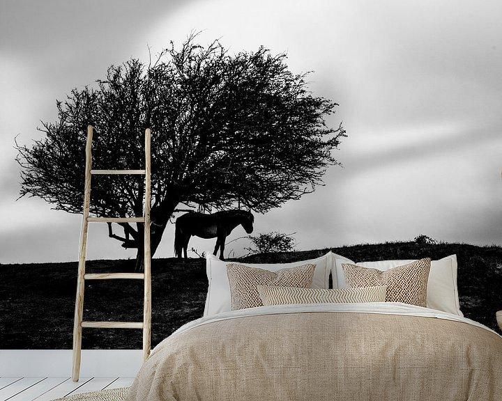 Sfeerimpressie behang: Konikpaard onder een boom van Gilbert Schroevers