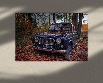 Oude auto tussen herfstbladeren van Paul Lagendijk
