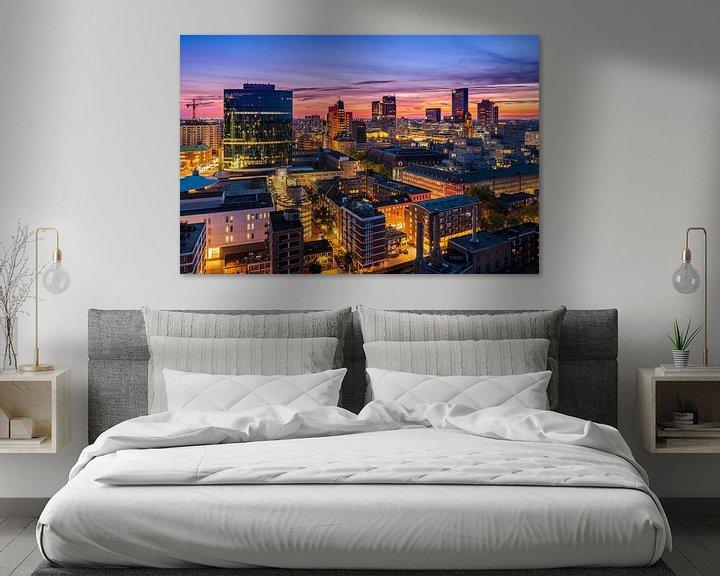Sfeerimpressie: Uitzicht over Rotterdam tijdens zonsondergang van Ellen van den Doel
