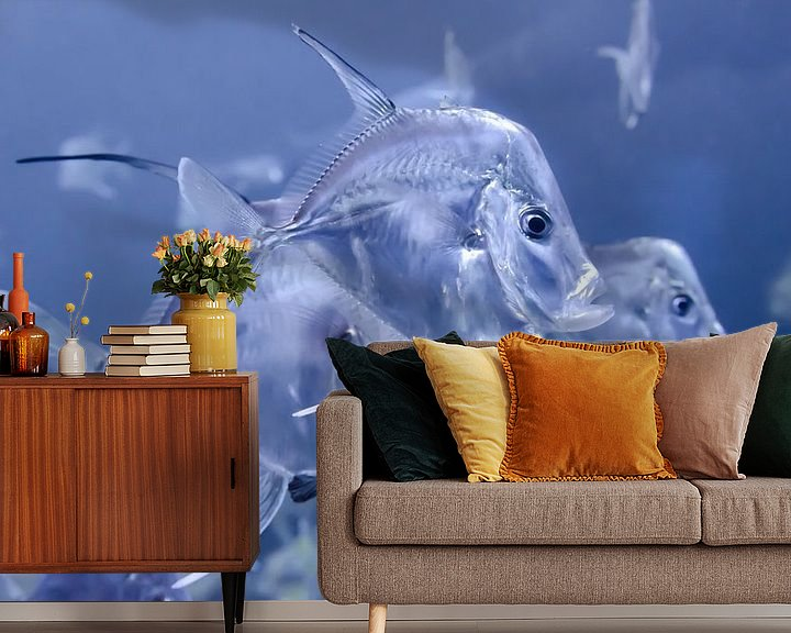 Sfeerimpressie behang: Transparante vissen van Mark Bolijn