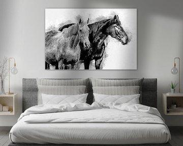 Schwarz-Weiß-Pferd (Kunst) von Art by Jeronimo