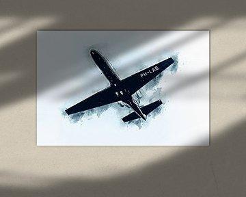 Cessna 550 onderzoeksvliegtuig (kunst) van Art by Jeronimo