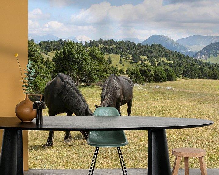 Beispiel fototapete: Pferde in den Bergen von Ruud Wijnands