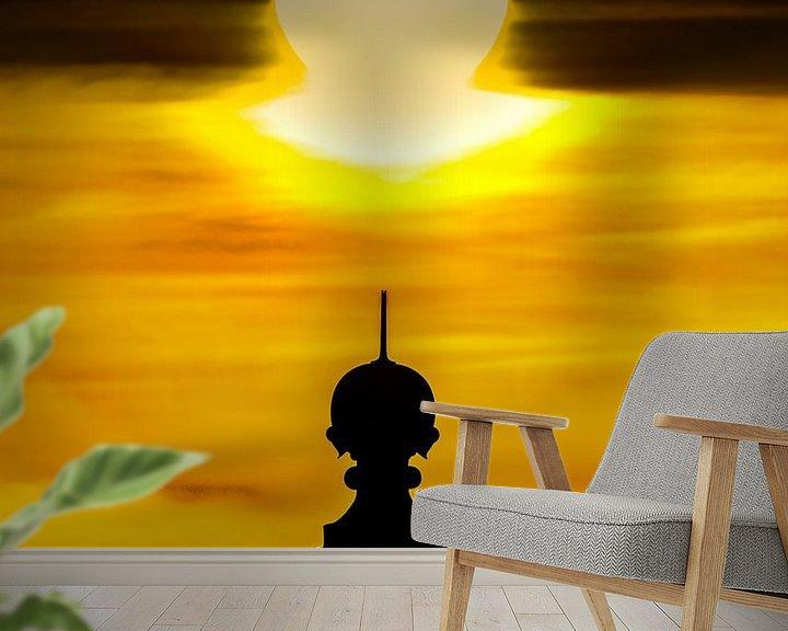 Sfeerimpressie behang: Top van de vuurtoren van Stavoren en zonsondergang van Harrie Muis