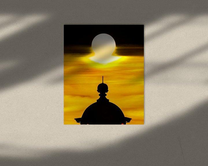 Sfeerimpressie: Top van de vuurtoren van Stavoren en zonsondergang van Harrie Muis