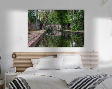 Schitterend mooie weerspiegelende Oudegracht in Utrecht