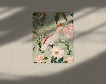 Pink Kakadu im Blüten Jungle von Uta Naumann