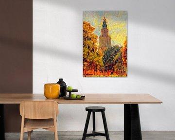 Herfst Schilderij Martinitoren Groningen van Slimme Kunst.nl