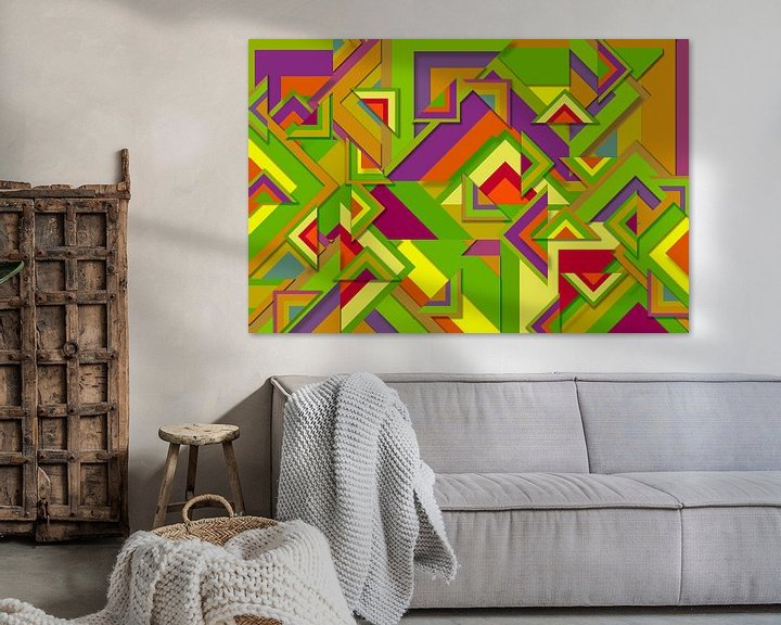 Beispiel: Abstrakte Arbeit mit Dreiecken 'Herbst'. von Ton Kuijpers