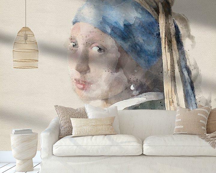 Beispiel fototapete: Mädchen mit Perle in Aquarellfarbe von Jerome Coppo