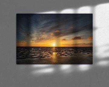 La mer des Wadden au coucher du soleil