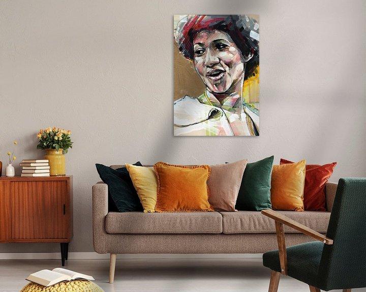 Sfeerimpressie: Aretha Franklin schilderij van Jos Hoppenbrouwers