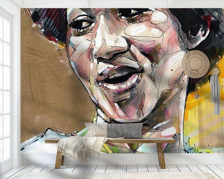 Sfeerimpressie behang: Aretha Franklin schilderij van Jos Hoppenbrouwers
