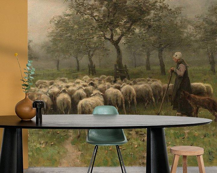 Beispiel fototapete: Hirtin mit Schafherde, Anton Mauve